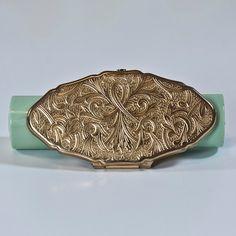 Lipstick Holder Pocket Mirror, Vintage Mid-Century Compact Mirror, Brass Frame Small Makeup Mirror, Vanity Mirror, Lipstick Case