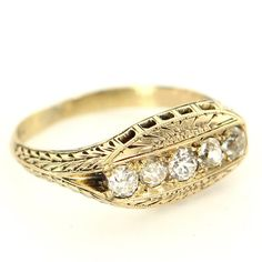 Antique Art Deco 14 Karat Yellow Gold Diamond Anniversary Stack Band Ring Used