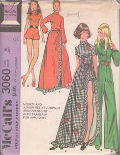 MOMSPatterns Vintage Sewing Patterns - McCall's 3060 Vintage 70's Sewing Pattern WILD Funky Bubble Leg Disco Romper, Long Hostess Jumpsuit, Ruffled Wrap Around Skirt Size 5