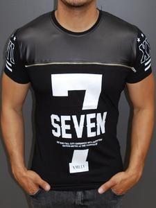 R&R Men Faux Leather Top 7 Seven Zipper T-shirt - Black