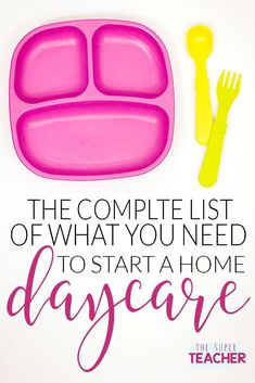 Start Daycare – Complete List of What You'll Need to Start a Daycare If you're thinking about starting a home daycare, read this list of must-have items now! Don't buy anything until you read this list and find out what you really NEED and what you don't. Daycare Setup, Daycare Themes, Daycare Organization, Daycare Forms, Kids Daycare, Daycare Ideas, Daycare Crafts, Daycare Storage, Toddler Crafts