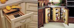Clever hideaway kitchen storage.