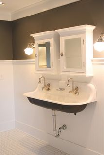 Trough sink. Cabinets would be recessed and underside of sink would be white or pale aqua