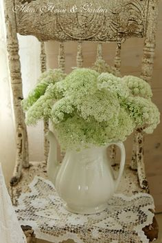 Is this Queen Anne's lace? So pretty. Cut Flowers, Fresh Flowers, Beautiful Flowers, Shabby Flowers, Cottage Chic, Cottage Style, Decoration Shabby, Deco Floral, Queen Annes Lace