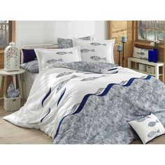 Dose Of Modern Blues - Blue Poplin Double Quilt Cover Set - White Blue Dark Blue Double Quilt, Bed Linen Design, Quilt Cover Sets, Linen Bedding, Poplin, Bed Sheets, Comforters, Duvet Covers, Dark Blue