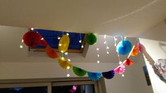 Colourful birthday table hanging decorations