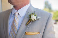 white rose boutonniere http://www.weddingchicks.com/2013/09/17/backyard-style-wedding/