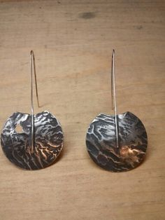 Reticulated sterling silver earrings.  MJ Sandman.