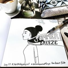 Wip of day 21: summer breeze suddenly it's warm outside #the100dayproject #100dayschallenge #100daysofdrawing #100womanandthings #womenillustration #womanentrepreneurs