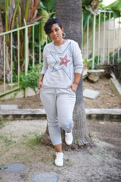 LOOKING LIKE A STAR IN MY FLEECE CREW NECK AND JOGGERS | Mimi G Style Leather Peplum, Grey Maxi, Athleisure Outfits, Fleece Joggers, Drop Crotch, Great Women, Casual Wear, Heather Grey, Floral Tops