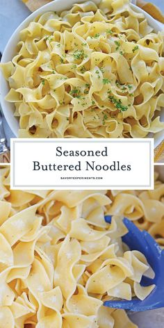 Seasoned Buttered Noodles - Buttered Noodles Recipe - A pasta side dish doesn't get any more delicious than this Seasoned Buttered Noodles recipe! With only 4 ingredients, this recipe couldn't be easier! Pasta Side Dishes, Pasta Sides, Side Dishes Easy, Side Dish Recipes, Food Dishes, Egg Noodle Side Dish, Recipes Dinner, Lunch Recipes, Garlic Butter Noodles