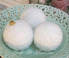 DIY: White Glitter Ornaments!