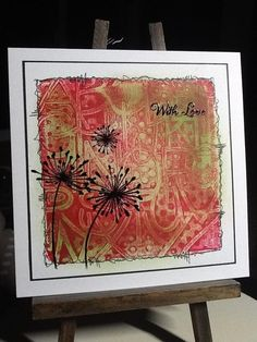 (Links to full FB page)  Love the fine liner border to create a frame at the edge of the Gelli print.