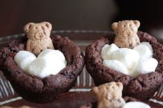 These are the cutest treat for kids!  They look like bears taking a bubble bath!  They are delicious and not too messy - so they are easy to take to school/parties.  (I came up with the idea after getting tired of taking cupcakes to school and having to deal with the mess!)  They are also small enough for young children.  Very easy to make when you use refridgerated cookie dough...  My son entered these into a dessert contest when he was 5 years old and he won!  Too cute!!