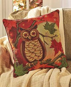Harvest Tapestry Owl Pillow Pinned by www.myowlbarn.com