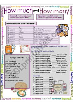 English worksheet: How much, how many English Teaching Materials, English Resources, English Activities, Education English, English Class, English Lessons, Teaching English, Learn English, How Many How Much