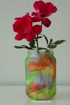 Get messy and make a fun tissue paper flower vase!