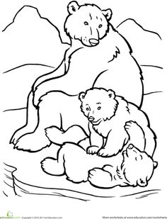 Worksheets: Polar Bear Family Coloring Page