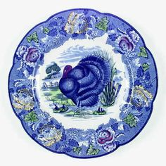 Enoch Wood & Sons Turkey-Blue Multicolor at Replacements, Ltd Turkey Plates, Turkey Dishes, Turkey Farm, Blue Dinner Plates, Blue Dishes, Blue And White China, China Dinnerware, My Favorite Color, Pottery