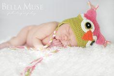 Newborn sleeping, #newborn #hat #owl #baby © Bella Muse | www.Bella-Muse.com