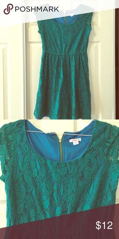 Lace Floral Teal Dress Teal and Blue mid dress with zipper in back. Floral lace front and back design. So cute:) Xhilaration Dresses Midi