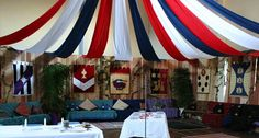 Hall Decorating with fabric from #ceiling #Kingdom #Rock #VBS #castle