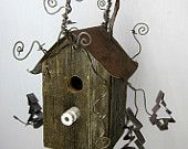 Rustic Birdhouse Wit hCookie Cutter Trees And Barbed Wire