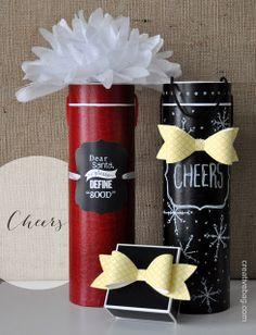 chalkboard inspired wine bottle gift wrapping | Lorrie Everitt for creativebag.com