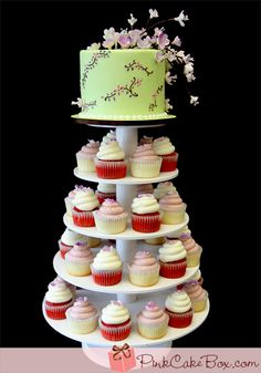 Cherry Blossom Wedding Cupcake Tower by Pink Cake Box Cupcake Tower Wedding, Wedding Cupcakes, Cupcake Towers, Cupcake Stands, Wedding Cake, Just Cakes, Cakes And More, Pastries Images, Pink Cake Box