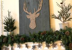 Brown and Red Rustic Reindeer Mantel via www.TheKimSixFix.com