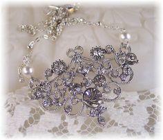NEW Swarovski White Pearl & Clear Rhinestone by HisJewelsCreations, $38.99