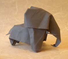 Origami Elephant by Akira Yoshizawa Wet-folded from a square of 160gsm Canson art paper by Gilad Aharoni on www.giladorigami.com