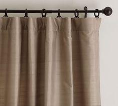 Dupioni Silk Pole Pocket Drape, 104 x Brownstone At Pottery Barn - Rugs & Windows - Drapes & Curtains Grey Blackout Curtains, Silk Curtains, Rod Pocket Curtains, Grommet Curtains, Drapery Panels, Bedroom Curtains, Custom Drapes, Window Coverings, Open Concept