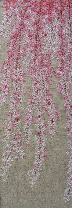 Judi Miller CherryBlossom.JPG (1549×4443) Beautiful use of color & stitch to create relaxing feeling