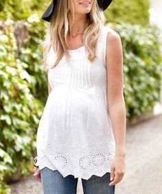Loving this White Lace Pretty Maternity Sleeveless Top on … Mutterschaft Kinder … Summer Maternity Fashion, Stylish Maternity, Maternity Wear, Maternity Dresses, Summer Maternity Clothes, Maternity Clothing, Maternity Tops, Maternity Styles, Maternity Swimwear