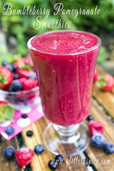 Bumbleberry Pomegranate Smoothies Recipe | Made with strawberries, raspberries, blueberries, huckleberries and pomegranate juice. Yum!