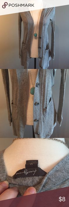 Long gray cardigan forever 21 medium Long cardi w pockets and five buttons. Medium Forever 21 Sweaters Cardigans