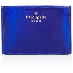 kate spade new york Rainer Lane Metallic Card Case ($38) ❤ liked on Polyvore featuring bags, wallets, nightlife blue, card carrier wallet, blue bag, hologram wallet, hologram bags and slim card case wallet