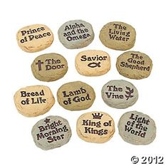 Names Of Jesus Stones.  Maybe have kids write on their own stones.