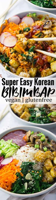 Making bibimbap at home is super easy! This vegan bibimbap comes together pretty quickly and you can prepare most of the ingredients in advance. It's a Korean classic that is packed with flavor and color - all in one bowl! Find more vegan recipes at veganheaven.org!