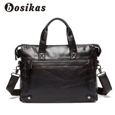 b269d09d83 BOSIKAS Men Briefcase Laptop Business Bag Travel Briefcase Handbag Fashion  Messenger Laptop Shoulder Bags Genuine Leather Bag