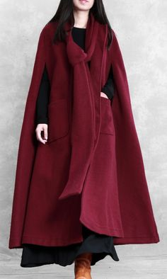 Fine burgundy Woolen Coat Women oversize Winter coat Batwing Sleeve large hemCustom make service available! Please feel free to contact us if you want this dress custom made. Warm Coat, Winter Coat, Plus Size Down Coats, Plus Size Cardigans, Cardigan Fashion, Sweater Coats, Batwing Sleeve, Coats For Women, Burgundy