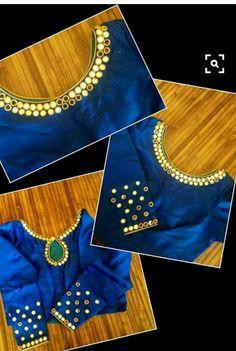 15 Stylish Mirror work blouse design to inspire you - Wedandbeyond Mirror Work Saree Blouse, Mirror Work Blouse Design, Kerala Saree Blouse Designs, Saree Blouse Patterns, Maggam Work Designs, Simple Blouse Designs, Blouse Models, Collor, Sleeve Designs