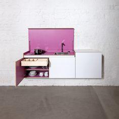 Modular plywood mini kitchen MINIKI by miniki design Tobias Schwarzer Hidden Kitchen, Mini Kitchen, Kitchen Unit, Space Kitchen, Miniature Kitchen, Kitchen Small, Open Kitchen, Kitchen Ideas, Interior Desing