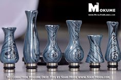 These Drip Tips were made from M3 Cobaltium Mokumehttp://www.metalpenblanks.com/