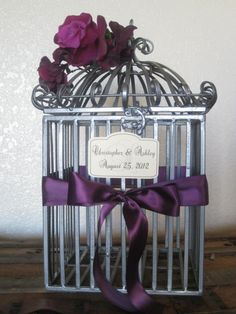 Dark Grey Bird Cage Wedding Card Holder