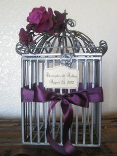 Dark Grey Bird Cage Wedding Card Holder