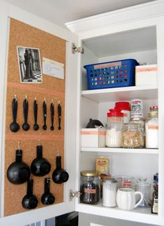 16 Easy Kitchen Organization Ideas and Tips with Pictures! - Raining Hot Coupons - Cork inside cabinet doors
