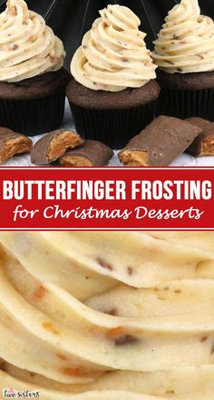 Need a Butterfinger Frosting for your Christmas Desserts? This is the perfect Christmas Frosting and will make every Christmas Treat you make taste better! Easy to make and delicious to eat, this one is a keeper! Frosting Recipes, Buttercream Frosting, Cupcake Recipes, Cupcake Cakes, Dessert Recipes, Tiramisu Dessert, Just Desserts, Delicious Desserts, Health Desserts