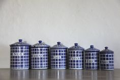 Antique French Enamel Kitchen Canister Set in Blue & by maintenant